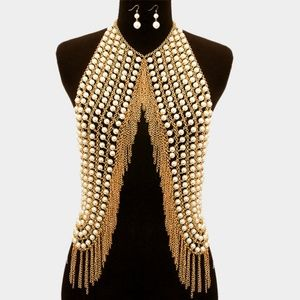 Jewelry - Pearl Fringe Body Chain Armor Vest Necklace